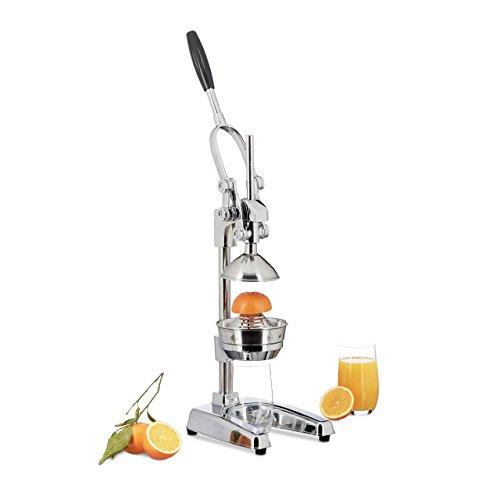 Relaxdays Zitronenpresse Premium Z8, manuelle Orangenpresse, Entsafter ohne Strom, professionelle Zitruspresse, silber