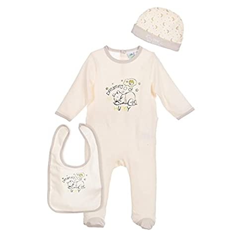 Set pyjama, bonnet et bavoir bébé mixte Winnie l'ourson Beige