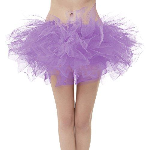 GirstunmBrand Damen 50er Mini Tüll Tutu Puffy Ballett Bubble Rock Lavendel-Standard - Marathon Kostüm Mädchen