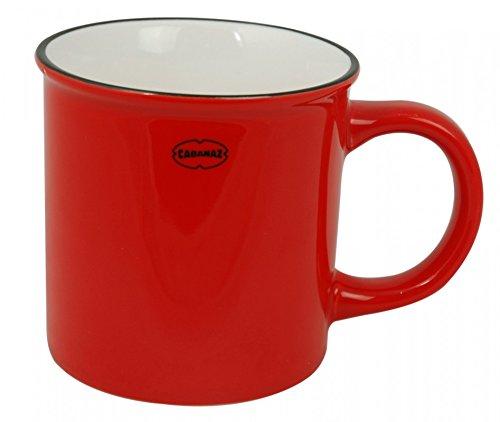 Cabanaz mug tasse à café en céramique rouge, rétro, capacité : 0,25 l (scarlet red - 1201440)