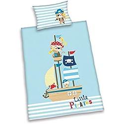 Herding Baby Best Kleinkinder-Bettwäsche-Set, Lara Little Pirates Wendemotiv, Bettbezug 100 x 135 cm, Kopfkissenbezug 40 x 60 cm, Baumwolle/Renforcé
