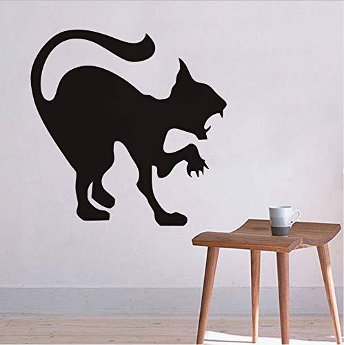 Scary Black Cat Wandaufkleber Halloween Dekoration Zischen Katze Vinyl Aufkleber Wandkunst, Angry Cat Hallowmas Wohnkultur Zubehör 44x44 cm