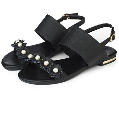COOLCEPT Femme Mode Sangle de Cheville Sandales Bout Ouvert Plat Slingback Chaussures Avec Fleur Noir