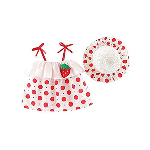 TTLOVE Babykleidung Baby MäDchen Kleid,äRmelloses O-Neck-Kleid Blumenschleife Prinzessin Sommerkleider Kleinkind Taufkleid Festzug Hochzeits Kleidung,Rock + Hut(Weiß,90)