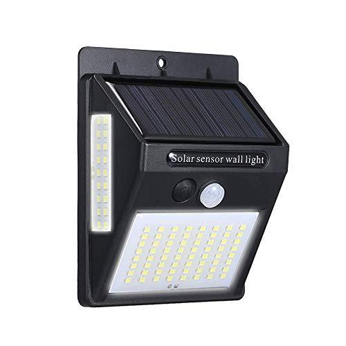 Ltteny LED 3 Seiten Solarenergie Wandmontierte Lampe DC5.5V 20W 100 PIR Bewegungsmelder Menschlicher Infrarot-Induktor Detektor Technologie Lichtempfindliche Steuerung IP65 mit Wiederaufladbar Akku