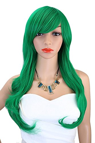 Kalyss Western Women's Wig Long Curly Wavy Curly Synthetic Green Color Full Hair Wig by Kalyss