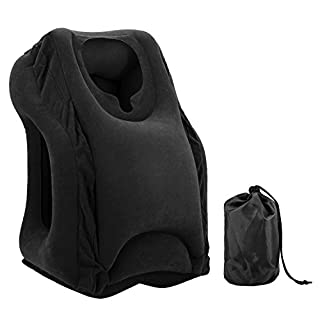 Almondcy Inflatable Travel Pillow, Portable Head and Neck Pillow, Flat Bottom for Airplanes, Trains, Cars, Office Napping Pillow (Black)