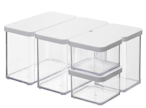 Rotho barattolo per alimenti premium loft –  set di 5 barattoli (2x0.5, 1x1.0, 2x2.1 l) contenitori ermetici – barattoli salvafreschezza privi di bpa – contenitori in plastica lavabili in lavastoviglie