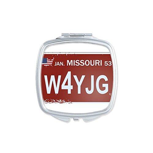 DIYthinker USA American Car License Plate Nummer Missouri Kreative Illustration Muster-Quadrat-Compact Make-up Taschenspiegel Tragbare Nette kleine Handspiegel (License Missouri Plate)