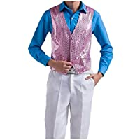 EnergyMen Single-Breasted Costume Sequin Glitter Classic Dance Suit Waistcoat Pink S