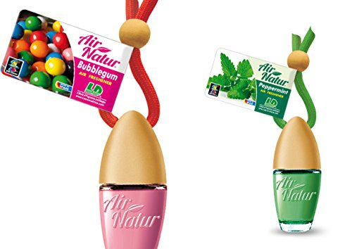 2 Stylisch-modische Air Natur Little Bottle Duftflakons Lufterfrischer Auto- und Raumduft 6ml - Duftsorte Bubble Gum - Kaugummi + Peppermint - Pfefferminze