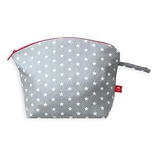La Fraise Rouge 4251005602904 Kulturtasche Antoine, hellgrau mit weißen Sternen und roten Reißverschluss