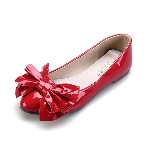 Smilun Damen Ballerina Flach Ballett Groß Schleife Glänzende Lackleder Rot
