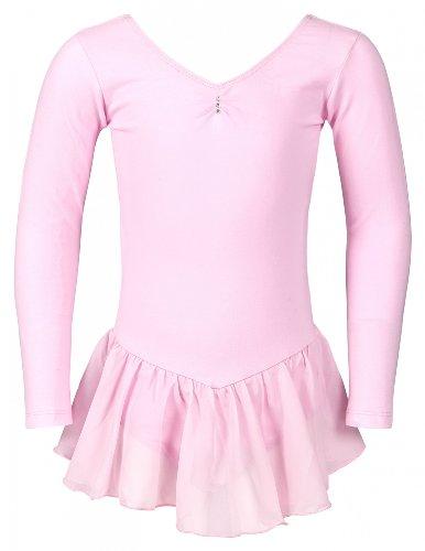"""tanzmuster Ballettkleidung für Kinder: Langarm Ballett Trikot """"Anna"""" mit Chiffon Röckchen. Edles Ballettkleid mit Strass-Steinchen am Ausschnitt in rosa, weiß, schwarz, hellblau, pink und lila."""