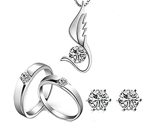 SaySure - Silver Plated Wedding Jewelry Sets With Crystal 2 Rings