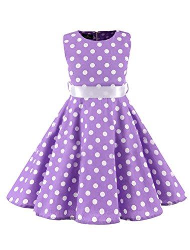 Mallimoda Mädchen Polka-Dots 1950er Vintage Kleid Hepburn Stil Art 2-Lila Körpergröße 100-110 -