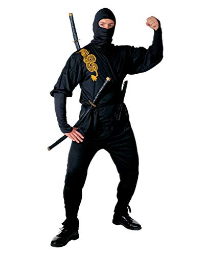 Ninja Golden Dragon Kostüm - Schwarzes Ninja Kostüm Golden Dragon Gr. M