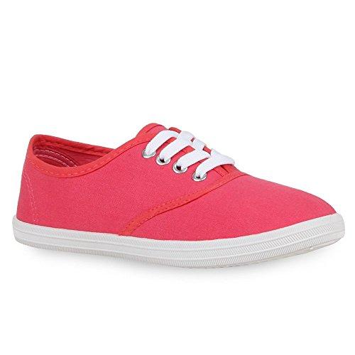 Sportliche Damen Herren Sneakers | Unisex Basic Freizeit Schuhe | Schnürer Stoffschuhe | Prints viele Farben Hellrot