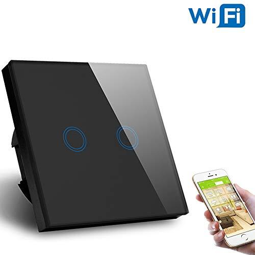 EU-Standard Smart Life WiFi-Schalter Sprachsteuerung 2-Gang Smart WIFI-Wandschalter (Schwarz) - Life Leuchtstofflampe
