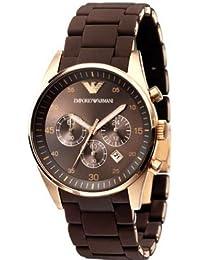 Emporio Armani AR5890 - Reloj cronógrafo de cuarzo unisex con correa de caucho, color marrón