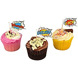 Ginger Ray Pop Art Superhero Party-Boxen (5Stück), gemischt Cupcake-Dekorationen gemischt