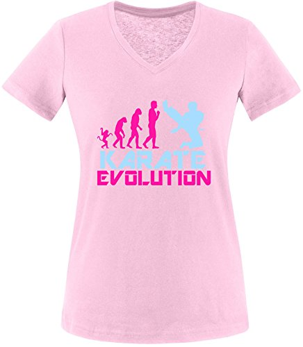 EZYshirt® Karate Evolution Damen V-Neck T-Shirt Rosa/Pink/Hellbl