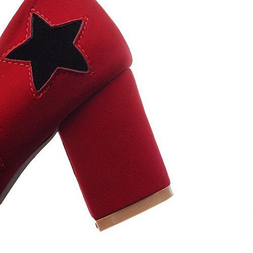 VogueZone009 Donna Tacco Medio Plastica Colore Assortito Tirare Punta Quedrata Ballerine Rosso