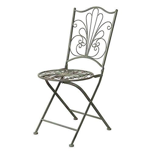 Siena Garden - Silla de metal, estilo vintage, metal envejecido, 40 x 40x 88 cm, color verde