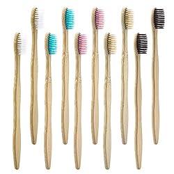 Dracarys Bambus Zahnbürste 10 PACK - 5 Farben Bamboo Toothbrush Natürliche Weiche Borsten - Biologisch Abbaubare Umweltfreundliche Bambus Zahnbürste Für Den Täglichen Gebrauch Mit Der Familie