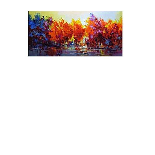 ZXCVB ÖlgemäldeMangrove forest landscape hand drawn oil painting on canvas,60X120CM