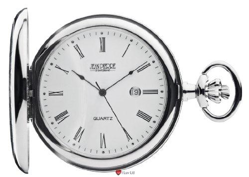 Taschenuhr mit Kalender und Schweizer Quarzwerk Chrom poliert