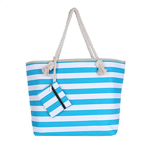 Borsa da spiaggia grande con chiusura zip 58 x 38 x 18 cm Shopper stile marinaro a righe beach bag Turchese-Bianco