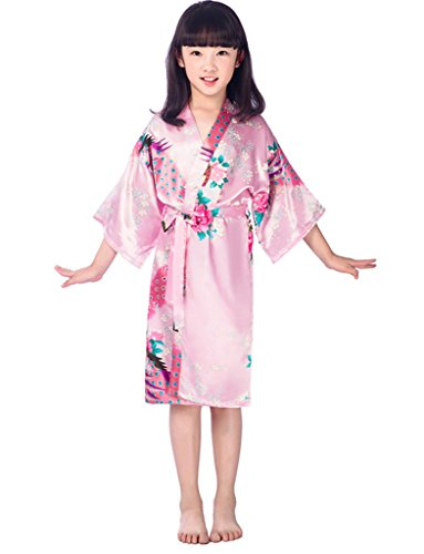 Kids Girls Summer Sleepwear Kimono Robe Silk Dressing Gown, Pink Age 8-10