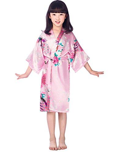 Kids Girls Kimono Robe Silk Dressing Gown, Pink Age 2-4