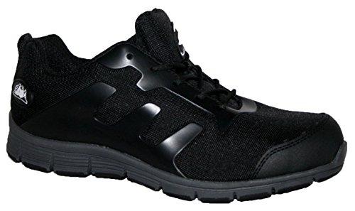 Groundwork- Scarpe da ginnasticae da lavoro ultra leggere, con puntale di sicurezza in acciaio, da uomo, decorate in finto pizzo, grigio (Black/Grey), 44