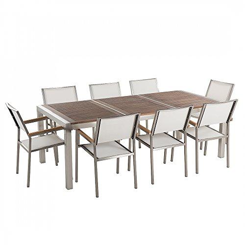 Gartenmöbel - Edelstahltisch 220 cm mit Holzplatte mit 8 weissen Stühlen - GROSSETO