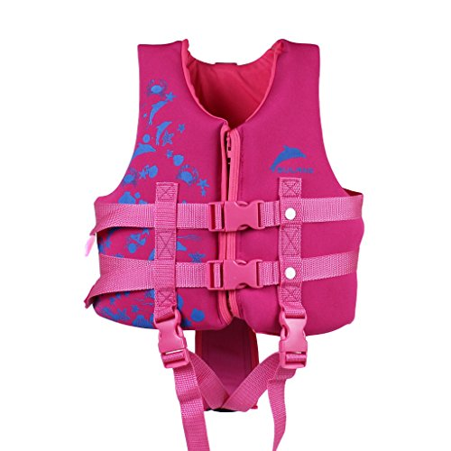 Kinder Schwimmweste Jacke Schwimmanzug - Jungen Mädchen Schwimmhilfen Auftrieb Bademode Einstellbar Schwimmen Lernen Schwimmbad Tauchen Strand Surfen Sicherheit Rosa Blau