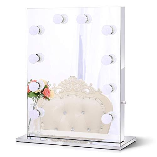 Chende Rahmenlos Schminkspiegel mit Beleuchtung Bühne Kosmetikspiegel, Schönheit Theaterspiegel, LED beleuchtet schminktisch Spiegel, Freie Glühbirnen (6550, Rahmenlos)
