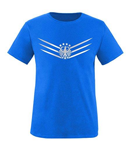 Luckja EM 2016 Deutschland Fanshirt 2016 Silver Edition M 02 Herren Rundhals T-Shirt Royal/Silber