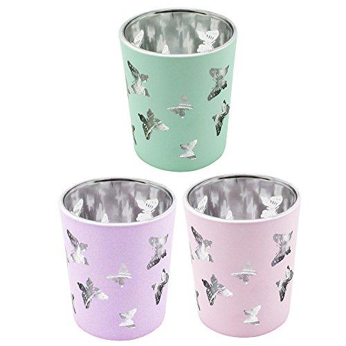 COM-FOUR 3x Windlicht in Pastellfarben, innen metaillsiert, mit Schmetterlingen, Teelicht