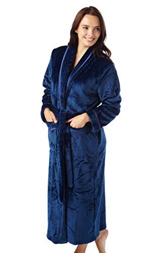 ladies-supersoft-fleece-wrap-dressing-gown-berry-red-charcoal-grey-ivory-or-navy-sizes-s-m-l-m-navy
