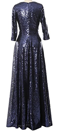 MACloth Elegant 3/4 Sleeve Sequin Evening Gown Vintage Mother of the Bride Dress Menthe