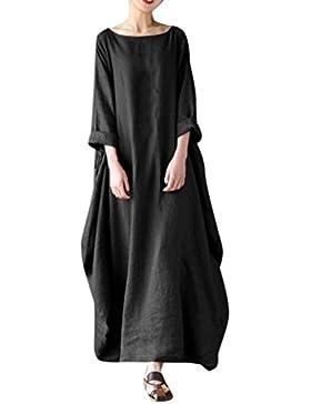 Vestito Taglie Forti Donna Incinte Cerimonia Abito Scollo a Barca Elegante Rotondo Collo Maniche 3 4 Vestiti Cocktail...
