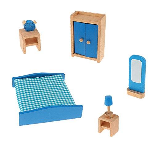 MagiDeal Puppenhaus Puppenstube Zubehör Miniaturmöbel Puppenmöbel Möbel Set - Blau, Schlafzimmer - Schlafzimmer-möbel-zubehör