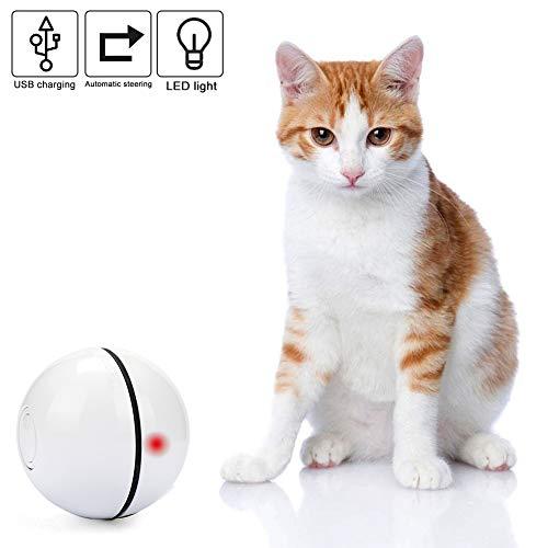 Vintoney Katzenspielzeug Ball Elektrische Rotierende Katze Ball Automatische Rolling Katzenkugeln Wiederaufladbare Haustier Übungsbälle mit LED Licht Interaktives Spielzeug für Kätzchen Welpen
