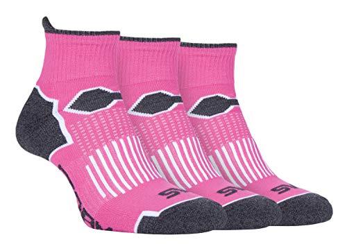Storm Bloc - 3er Pack Damen Bunt Gepolstert Kurz Laufsocken Sportsocken in Pink und Schwarz (37-42, SBLS016PIN) (Gepolsterte Socken No-show)