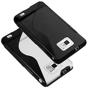 mumbi 2 x Silikon TPU Tasche Samsung Galaxy i9100 S II Schutzhülle in Black + smokeBlack