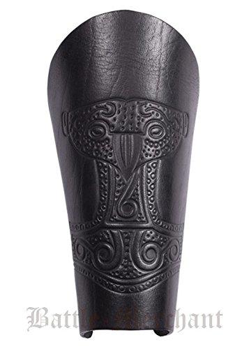 1 Paar Armstulpe mit geprägtem Thorshammer aus Leder Armschiene Armschützer Armschoner LARP Mittelalter Schaukampf Wikinger (Schwarz)