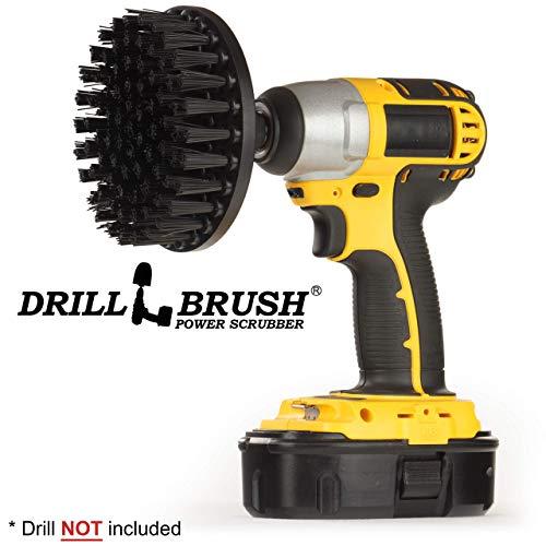 Drillbrush 5-Zoll-Durchmesser Ultra-Stiff Nylon Scub Pinsel verwendet für Hochleistungs-Ziegel und Steinreinigung mit Schnellwechselwelle schwarz-ultra stiff