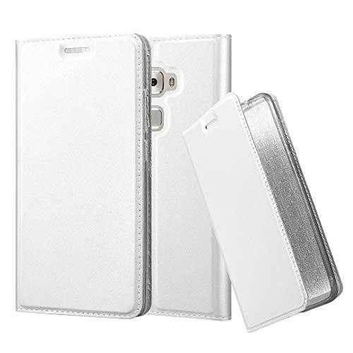 Cadorabo Hülle für Huawei Mate S - Hülle in Silber - Handyhülle mit Standfunktion & Kartenfach im Metallic Erscheinungsbild - Case Cover Schutzhülle Etui Tasche Book Klapp Style